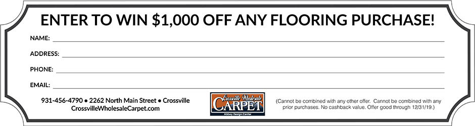 Print this entry form, fill it out and bring it to the store for a chance to win $1,000 off any flooring purchase!  Cannot be combined with any other offer. Cannot be combined with any prior purchases. No cashback value. Offer good through 12/31/19.