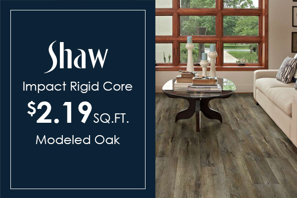 In-stock Shaw Impact Modeled Oak on sale! Save on waterproof luxury vinyl plank!
