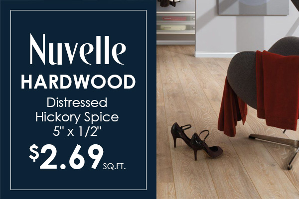"Nuvelle 5"" Hardwood in Distressed Hickory Spice on sale for $2.69 sq.ft. at Crossville Wholesale Carpet!"