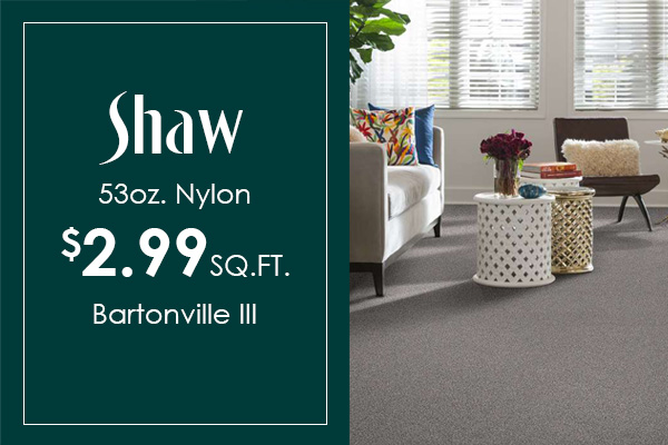 Shaw 53 oz. Nylon Carpet Bartonville III $2.99 sq.ft.