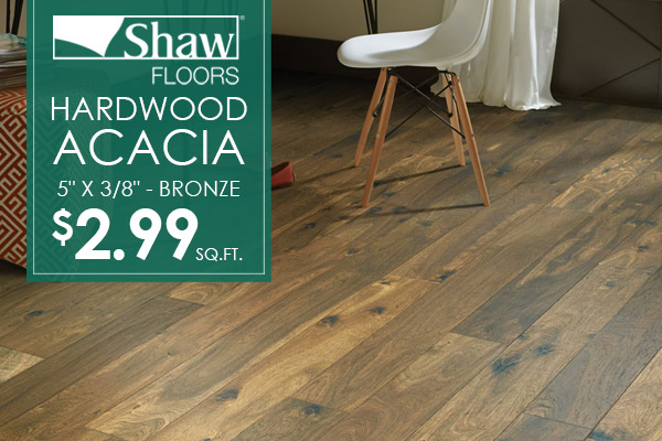 "Shaw 5"" Hardwood in Acacia Bronze on sale $2.99 sq.ft. at Crossville Wholesale Carpet!"