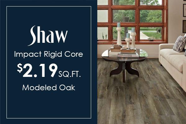 In-stock Shaw Impact Modeled Oak on sale! Save on waterproof luxury vinyl plank!