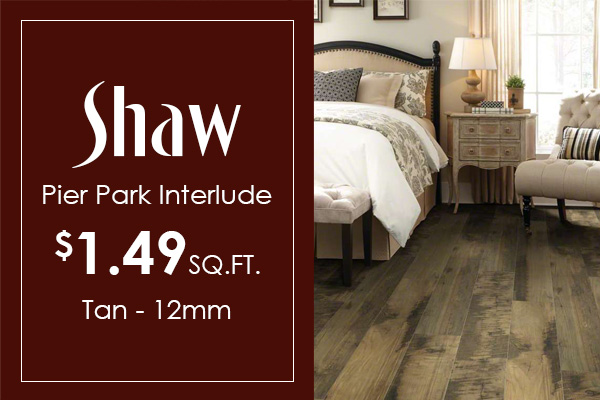 Scratch & water resistant pet/kid friendly 12mm Shaw Pier Park Interlude on sale for $1.49 sq.ft.